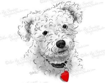 Poodle Art with Heart Pet Tag, Digital Download Dog Clipart, Scrapbooking Clip Art for Paper Crafts, Dog Portrait, Dog Art (01710b1v)