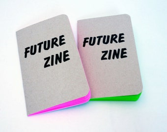Future Zine - blank notebook - 20 page memo book with letterpress cover