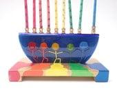 Colorful Rainbow Fused Glass Hannukah Menorah