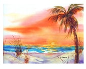 Tropical Sunset Art Greeting Card, White Sand Orange Sky, Free Shipping, Multiples Available, notes, notecards, note cards, blank, fine art,