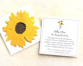 25 Sunflower Seed Fall Wedding Favors - Plantable Paper Flowers - Personalized Favor Cards