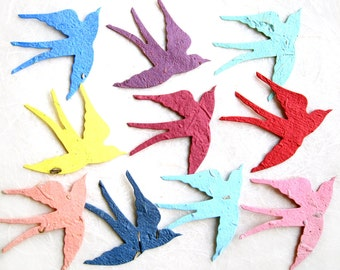 100 Seed Paper Birds Wedding Favors - Plantable Flower Seed Paper Sparrows Swallows - Lilac Red Aqua etc with optional thank you scrolls