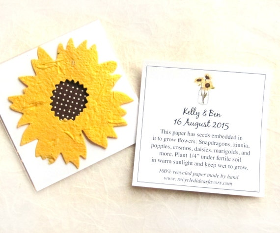 100 Sunflower Seed Wedding Favors Plantable Seed Paper