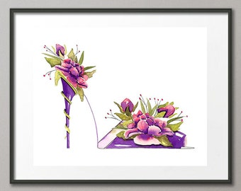 Fine Art Print Purple Pink Roses Flower Shoes Stiletto Fashion Colorful Watercolor Elena