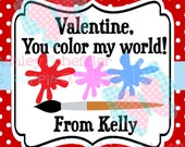 Valentine's Day Tag. You Color my world. Class Valentines. Printable Tag. PDF File.Personalized.Square Tag. Red