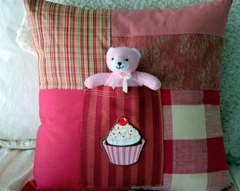 Pink Cupcake Toy Pocket Pillow / tooth fairy pillow / nursery pillow / toddler pillow / pink cupcake pillow /baby girl nursery decor bedding