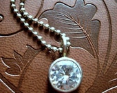 10mm Fully Faceted Cubic Zirconia pendant with Sterling Ball Chain