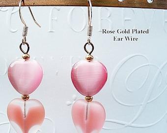 Pink Earrings - Pink Heart Dangle Earrings - Copper Earrings - E2012-22