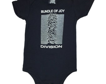 Bundle Of Joy Division Onesie - Ian Curtis Punk New Order Cool Funny Baby grow -  3 sizes available. Screen printed. Handmade.