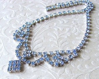 Something Blue Rhinestone Necklace 1950s Vintage Jewelry Choker Bib Drape Wedding Bridal Formal Bridesmaid Pageant Ballroom Prom Accessory