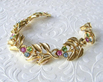 Vintage Fruit Salad Rhinestone Bracelet Multi Color Bright Pink Lime Green Powder Baby Blue Gold Tone Leaves Flower Colorful Costume Jewelry