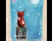 Cat Illustration, Cat, moon, Original, Children's art, Whimsical drawing, original drawing