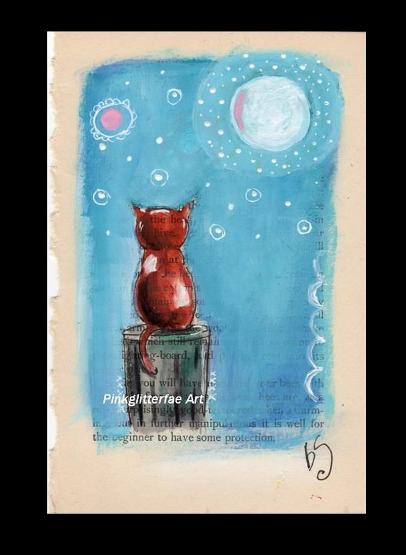 Cat Illustration, Cat, moon, Original, Children's art, Whimsical drawing, original drawing