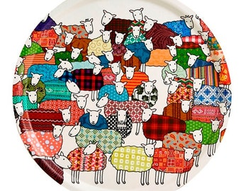 Round Colourful Sheep Tray