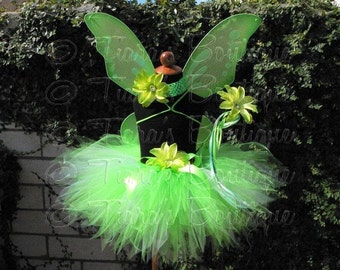Green Tutu, Girls Halloween Costume Tutu, 1st Birthday Photo Prop, St. Patrick's Day, Tinker Fairy Tinkerbell Inspired Sewn Pixie Tutu