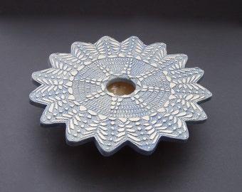 Ceramic Ikebana Vase . Handmade Pottery . Doily Lace Vase