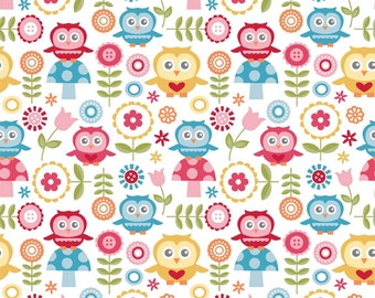 Riley Blake Fabrics, Fine and Dandy, Dandy Owls on white, yard