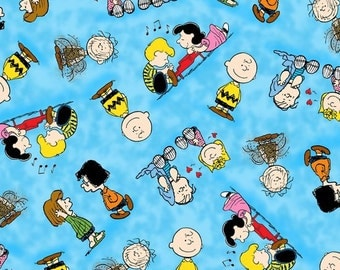 Quilting Treasures, Happiness in Peanuts, The Peanuts Gang on blue, yard