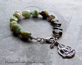 Peruvian Opal-Blue Opal-Smoky Quartz-Buddha Bracelet-Zen Jewelry-Yoga Jewelry-Nugget Bracelet-Asymmetrical-Bracelet