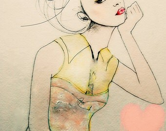 Furrow  - Fashion Illustration Art Print, Woman, Mix Media Painting by Leigh Viner