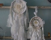 Pair of Dreams - Abandoned Vintage Bits of Fabric Crochet and Lace Shabby Chic Dreamcatcher