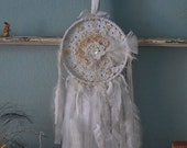 Petite Dreams - Abandoned Vintage Bits of Fabric, Crochet and Lace Shabby Chic Dreamcatcher