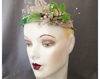 Bridal Crown, Tiara -  Vintage and Antique French Beaded Flowers, Freshwater Pearls, Deco Trims and Beads