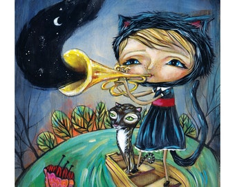 "Kitty Girl Playing Trumpet with Cat - Pop Surrealism ""Musical Fauna"" Print - by Heather Renaux-unframed"