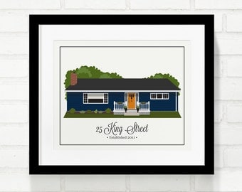 Home Illustration Portrait Moving Gift New Home Wall Art Family First Home Real Estate Closing Gift For Dad Childhood Home Grandparent Gift