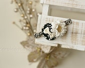 Black Cheetah Dainty Dahlia and Ivory dot headband with a little gold bling All Things Ribbon headbands for girls babies