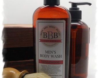 Mens SANDALWOOD Body Wash Shower Gel Bath Fragranced Rustic Body Care Skin Care