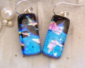 Dichroic Earrings, Glass Earrings, Dangle, Sterling Silver, Blue, Pink