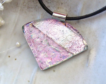 Fused Dichroic Glass Pendant, Necklace, Glass Jewelry, Pink, Necklace Included, One of a Kind, A7