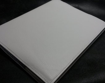 Large Leather Fitted Book Journal Cover White Color   Plus Custom Stamping Free