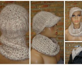 Fuzzy Beige Cap and Scarf - Cowl - Hat - Handmade Crochet Set