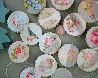 "Paper garland, Shabby Roses Scallops or Hearts, wedding garland, bridal shower decor, wedding decor, party decoration, 40"" garland"