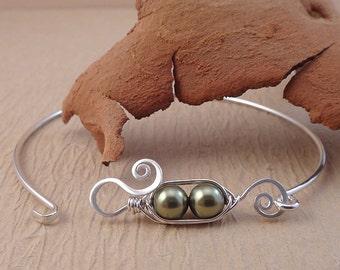 Peapod Bangle Bracelet - Two Peas in a pod - Two (2) Green Pea Pod Jewelry - Pearl Bangle Bracelet - Pea Pod Bracelet