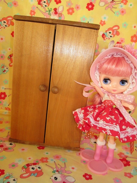 Wooden Doll Armoire ~ Vintage wooden doll closet armoire great for