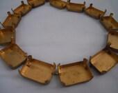 Vintage Brass Stone Setting Chain