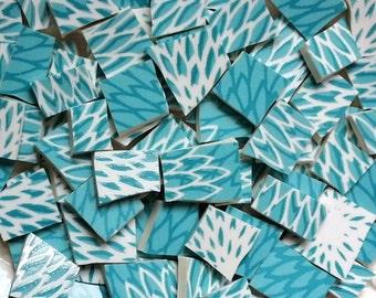 Mosaic Tiles-Aqua Zinnia--Flower Pedals- 81 Tiles