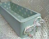 Vintage Sewing Drawer, Hand Painted and Distressed Aqua with Dots, Shabby, Storage, French Country, ECS