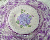 Light Purple Hydrangea Hand Painted on Round Vintage Metal bowl, Decorative, Collectible, Gift, Home Accent, ECS