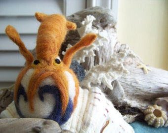 Needle Felted Feisty Squid Sphere Sculpture