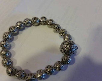 Trendy, Modern, Shabby Chic, bo ho,Tibeatan Silver Bali Stretch Bracelet with large Bali Focal Bead