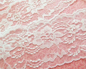 White Lace Trim 4 in. wide, Bridal White Lace 5 yds, sewing trim, wedding, runners, bows, decor