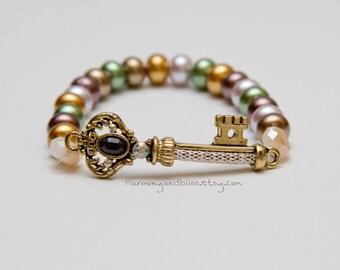 Key charm bracelet elegant bead bracelet victorian wedding edwardian prom jewelry