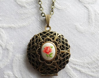 Red Rose, Scent Locket Necklace with Vintage Glass Cameo