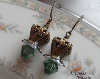 1/2 Price Clearance Sale- Swarovski Crystal Earrings- Sage Lily