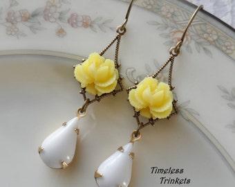 75% Off Clearance Sale- Lemon Yellow Rose Earrings with Vintage Glass Teardrop