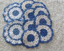 Vintage Handmade Crochet Coaster Set 1930's/40's Blue and White 10 Pieces Mint Condition